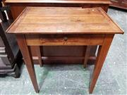 Sale 8939 - Lot 1022 - Small French Fruitwood Side Table, fitted with a shallow drawer & tapering legs. H: 68 W: 60 D: 39cm