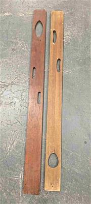 Sale 8951P - Lot 305 - Pair of Vintage Timber Surveyors Levels (largest- L:156 x W:12cm)