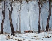 Sale 8992 - Lot 551 - Kevin Best (1932 - 2012) - Horses in Winter Landscape 39.5 x 49.5 cm (57 x 68 x 4 cm)