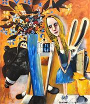 Sale 9072A - Lot 5026 - Charles Blackman (1928 - 2018) - Alice in Wonderland 122 x 106 cm (frame: 125 x 110 cm)