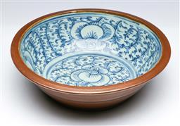 Sale 9093P - Lot 47 - Qing Deep Blue and White Bowl with Cafe-Au-Lait Glaze (D: 27 cm)