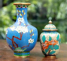 Sale 9120H - Lot 46 - A blue ground cloisonné vase together with a yellow ground cloisonné lidded jar, Height of vase 16cm