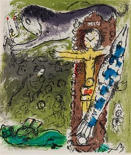 Sale 9154JM - Lot 5064 - MARC CHAGALL (1887 - 1985) Christus im der Pendeluhr, 1957 colour lithograph (bookplate) 24 x 20 cm (frame: 41 x 36 x 2 cm) .