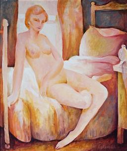 Sale 9161 - Lot 575 - BILL COLEMAN (1922 - 1993) Nude by the Window oil on board 60 x 49 cm (frame: 80 x 69 x 4 cm) signed lower right