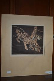 Sale 8491 - Lot 2098 - Norbertine von Bresslern-Roth (1891 - 1978) - Bengal Tigers 21 x 22cm