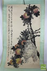 Sale 8508 - Lot 76 - Chinese Scroll Depicting Red And Yellow Flowers