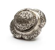 Sale 8517A - Lot 88 - A hinged silver quattro lobed domed floral repousse tobacco box, 65g, aperture for a chain, W 9cm