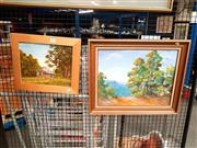 Sale 8663 - Lot 2112 - 2 Works: Joyce Wragg - Cottage, oil on board, SLR & N.Gosper - Blue Mountains, on board, SLL