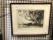 Sale 8906 - Lot 2055 - Squire Morgan - Treesdrypoint etching ed. second slate , 33 x 40cm (frame), signed