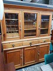 Sale 8930 - Lot 1017 - Vintage Pine 2-Piece Dresser with Marble Slides and Fitted Interior (H: 189.5 W: 167.5 D: 52cm)