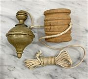 Sale 8951P - Lot 306 - Brass Carpenters Plumb Bob with Timber Spool (11.5cm)