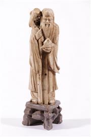 Sale 9010D - Lot 725 - Soapstone Figure Of an Elder H: 20cm