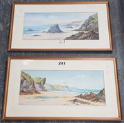 Sale 9061 - Lot 2077 - A pair of Seascape watercolours (AF) by J Newton, frame: 43 x 73 cm (each), signed lower left