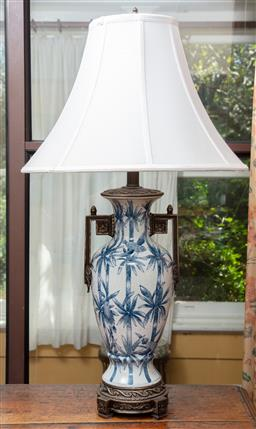 Sale 9120H - Lot 47 - A crackle glazed twin handled baluster lamp with bamboo theme and white shade, Total Height 83cm