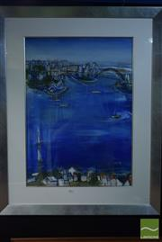 Sale 8518 - Lot 2004 - Jacqui Henwood (1946 - 2013) View of Sydney Harbour, 2003, gouache on paper, 106 x 84cm (frame size), signed and dated lower right.