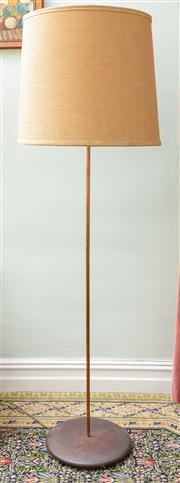 Sale 8653A - Lot 81 - A standard lamp with copper tube column on timber base, with large barrel shade, H 186cm