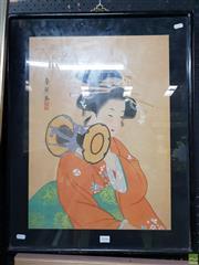 Sale 8645 - Lot 2046 - Japanese School - Portrait of a Woman, Watercolour, Gouache, (69 x 54cm), Signed Upper Left