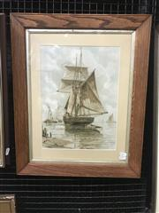 Sale 9082 - Lot 2082 - A Wilde Parsons Maritime Scene hand-coloured lithograph, 56 x 46cm (frame), published by Raphael Tuck & Sons Prize Exhibition 1890