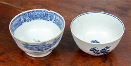 Sale 9120H - Lot 48 - A blue and white Worcester tea bowl, Diameter 8.5cm together with another  small chip to rim
