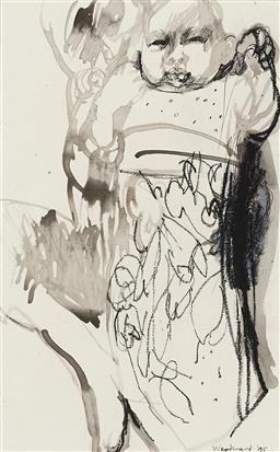 Sale 9212A - Lot 5046 - MARGARET WOODWARD (1938 - ) Priya & Ashika, 1995 pastel, pen, ink and wash 27 x 17 cm (frame: 51 x 40 x 2 cm) signed lower right