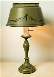 Sale 8420A - Lot 61 - A vintage French metal toleware lamp with stencilled metal shade, condition: good working order, 50cm high x 28cm shade width (wides...