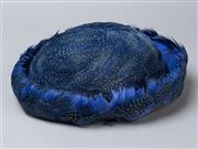 Sale 8541A - Lot 90 - A vintage Martha Weathed feather bumper hat in ink blue, good condition, with original hat box, L 18cm