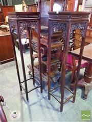 Sale 8539 - Lot 1079 - Pair of Chinese Tall Rosewood Pedestals, with delicate scroll work & flowers