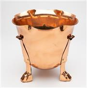 Sale 8651A - Lot 72 - A large English solid copper jardinière raised on 3 stylised paw feet fitted with brass screws, Joseph Sankey and Sons c. 1910, H 29...