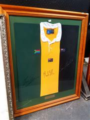 Sale 8671 - Lot 2047 - Timber Framed Tri-Nations Rugby Jersey, signed by Tiaan Strauss (SA), Mark Ella (AUS), Sean Fitzpatrick (NZ)