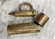 Sale 8951P - Lot 308 - Turned Brass Builders Plumb Bob on Case (14.5cm)