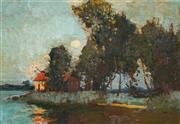Sale 9013 - Lot 547 - Sydney Long (1871 - 1955) - The Boathouse, Narrabeen 25.5 x 37 cm (frame: 38 x 50 x 3 cm)