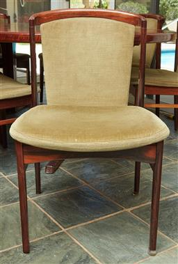 Sale 9097H - Lot 60 - A set of eight dining chairs with olive green velvet upholstery, circa 1970, Height of back 83cm