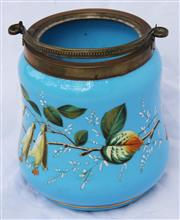 Sale 8319 - Lot 10 - French turquoise glass biscuit barrel colour enamel with floral decoration with swing handle and original plated cover