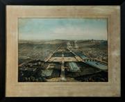 Sale 8420A - Lot 37 - An antique oak framed lithograph of Paris, 76cm x 61cm, condition: very good (some minor age spots) lithograph reads: Vue Generale d...