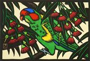 Sale 8526 - Lot 501 - Leslie V. Van Der Sluys (1939 - 2010) - Musk Lorikeet and Eucalyptus 15.5 x 23cm