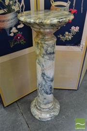 Sale 8520 - Lot 1004 - Mottled Turned Marble Pedestal h: 90 cm