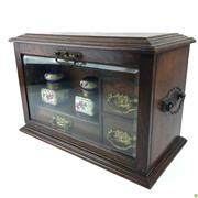 Sale 8562R - Lot 81 - Fine Oak Lidded Desk Cabinet with Bevelled Glass Front, Two Porcelain Ink Containers, Three Drawers and a Letter Compartment. (W: 37...
