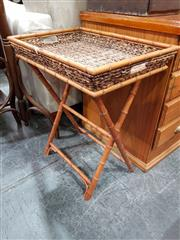 Sale 8688 - Lot 1073 - Cane & Simulated Bamboo Tray on Stand