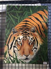 Sale 8841 - Lot 2069 - Crouching Tiger Oil on Canvas