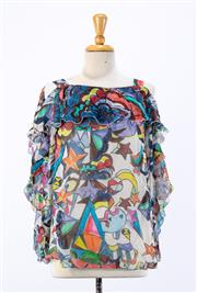 Sale 8891F - Lot 92 - A Tsumori Chisato silk blouse with off-the-shoulder sleeves, printed with designs of childrens drawings, approx size 10