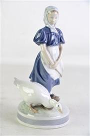 Sale 8935 - Lot 58 - A Royal Copenhagen Figural Group of A Girl and Goose (H 24cm)