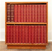 Sale 8976H - Lot 28 - A small purpose timber bookshelf with Encyclopaedia Britannica, Height 75cm x Width 67cm