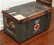 Sale 8990H - Lot 81 - A timber leather and metal bound medical chest, with rope handles, Height 43cm x Width 72cm x Depth 45cm