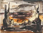 Sale 9013 - Lot 549 - Russell Drysdale (1912 - 1981) - Landscape 17 x 22 cm (frame: 48 x 43 x 2 cm)