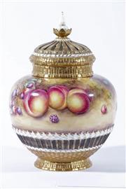 Sale 9010 - Lot 18 - Royal Worcester Handpainted Fruit Study Pot Pourri with Cover by T. Nutt (H:27cm)