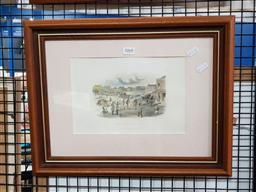 Sale 9127 - Lot 2068 - S.T Gill (two works) Market Square, North Geelong & Surveyors engravings, frame: 35 x 46 cm, 31 x 37 cm, -