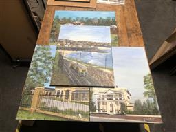 Sale 9152 - Lot 2058 - JOHN COLBERT - Buildings and Railway (x4 paintings) each: 61 x 45 cm