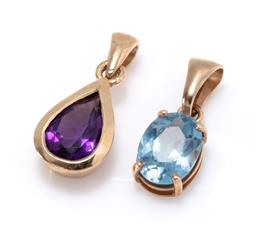 Sale 9213 - Lot 383 - TWO 9CT GOLD STONE SET PENDANTS; one bezel set with an approx. 0.60ct pear cut amethyst, length 18mm, other an oval cut synthetic bl...