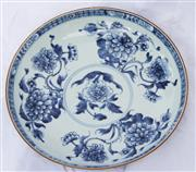 Sale 8319 - Lot 11 - A Chinese blue and white shallow dish painted with peony design