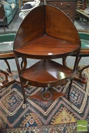 Sale 8335 - Lot 1039 - George III Mahogany Corner Wash Stand, with splash back, a shelf with drawer & a stretcher fitted for a basin